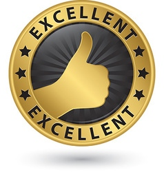 Excellent golden sign with thumb up vector image