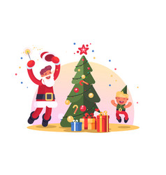family with christmas tree vector image