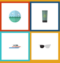 flat icon beach set of spectacles ocean boat and vector image