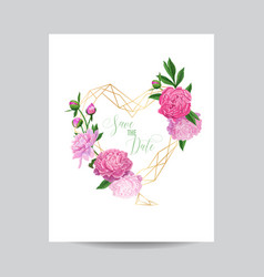 Floral wedding invitation template pink peonies vector