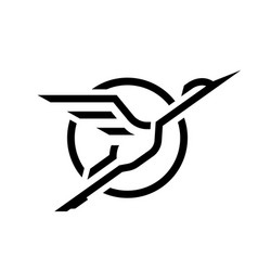 flying stork linear logo vector image