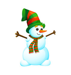 funny cartoon snowman in a hat vector image