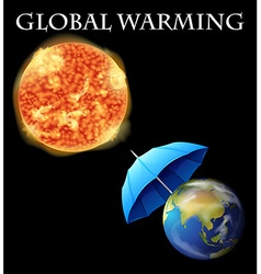 Global warming theme with earth and umbrella vector