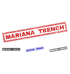 Grunge mariana trench textured rectangle stamps vector