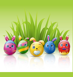 happy easter eggs cartoon character with bunnies e vector image