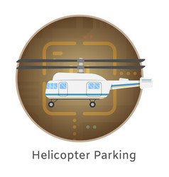helicopter landing and parking airport terminal vector image