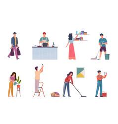 Household activities housekeeping chores repair vector