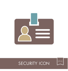 Id badge line icon identification card vector