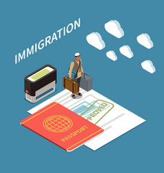 Immigration isometric background vector