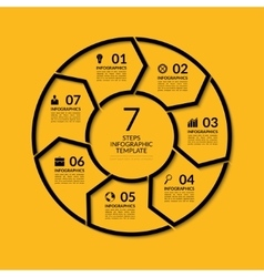 Infographic circle template with 7 steps vector image