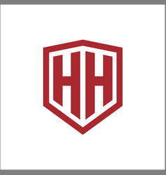 Initial letters hh shield shape modern logo vector