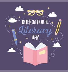 international literacy day open book pen pencil vector image