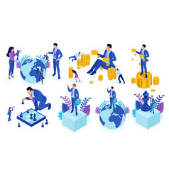 Isometric businessman top of the world leadership vector