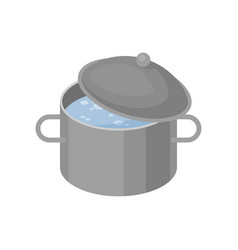 isometric icon of gray metal pan with vector image