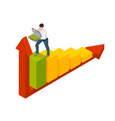 Isometric man symbolizes success in business vector