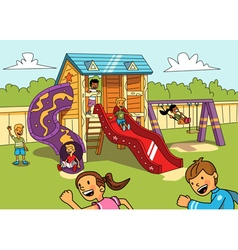 Kids on the playground vector