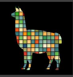 Lama mammal color silhouette animal vector