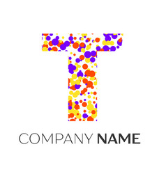 Letter t logo with purple yellow red particles vector