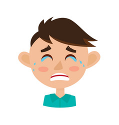 little boy crying face expression cartoon vector image