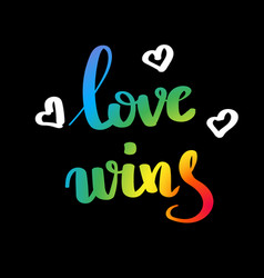 love wins gay pride slogan with hand written vector image
