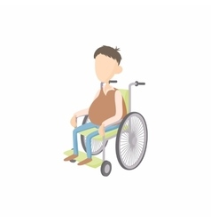 Man in wheelchair icon cartoon style vector image