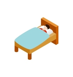 Man laying in bed icon isometric 3d style vector