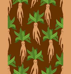 mandrake root seamless pattern legendary mystical vector image
