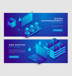 Mining cryptocurrency and web hosting concept vector