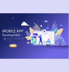 mobile app development modern flat design for web vector image
