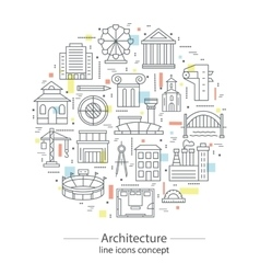 Modern thin line concepts with architecture vector