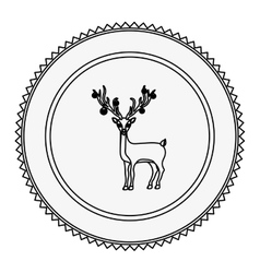 Monochrome contour circle with reindeer with vector