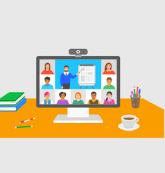 Online education virtual class teleconference call vector