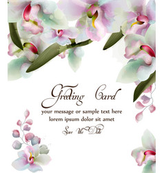 orchid flowers watercolor card beautiful vector image