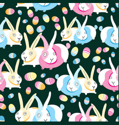 pattern easter bunnies and eggs vector image