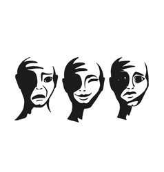 People s faces with different emotions vector
