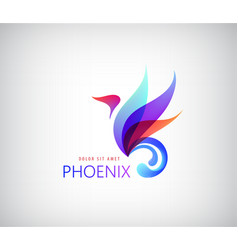 Phoenix colorful brand animal logo hotel fashion vector