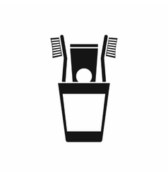 Plastic cup with brushes icon simple style vector image