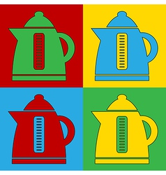 Pop art electric kettle icons vector image