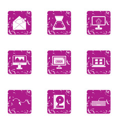 Programming error icons set grunge style vector