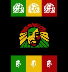 rastafarian lion face isolated logo icon vector image