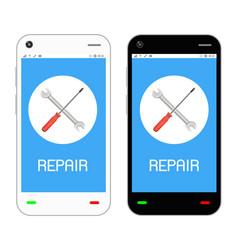 repair logo on smartphone screen vector image
