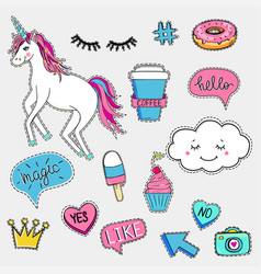 set cute trendy patches vector image