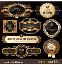 set golden luxury frames vector image