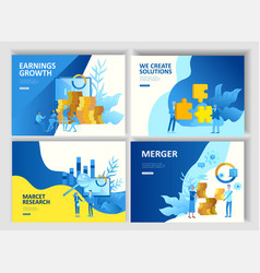set landing page template people business app vector image