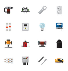 set of 16 editable electrical icons flat style vector image