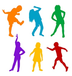 Set of colored silhouettes of children playing vector image