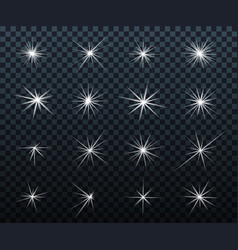 set of glowing light effects sparkles shining vector image