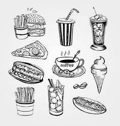 set of handrawn fastfood vector image