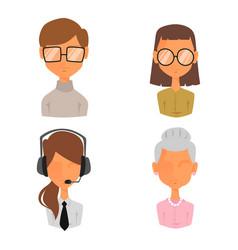 Set of people portrait face icons web avatars flat vector