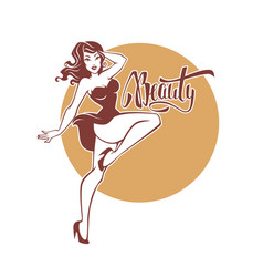 sexy and beauty retro pinup girl and lettering vector image